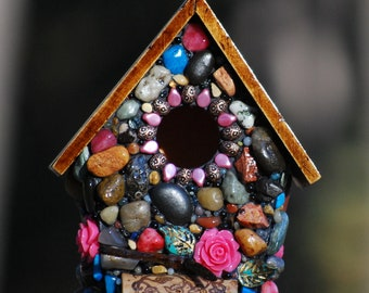 Mothers day Stone birdhouse, Fairy garden, birdhouse, Mosaic, Whimsical, Wine cork art, spring garden decor, gift for her, pink mosaic art