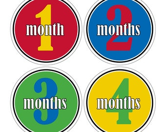12 Monthly Baby Milestone Waterproof Glossy Stickers - Just Born - Newborn - Weekly stickers available - Design M021-05