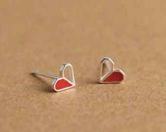 Aki - Silver 925 Love Heart Earrings, Gift for Woman, Gift for Girlfriends, Beauty Jewelery