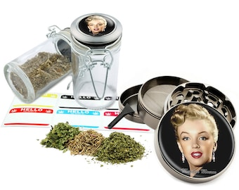 "Marilyn Monroe - 2.5"" Zinc Alloy Grinder & 75ml Locking Top Glass Jar Combo Gift Set Item # 50G012516-2"