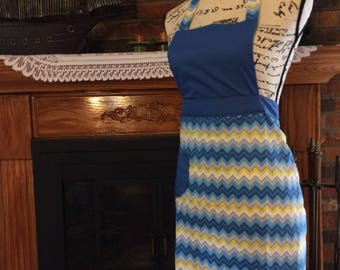 Chevron Apron With Pocket // Blue And Yellow Apron // Lace Apron // Kitchen Accessories // Handmade Apron // Gift For Her