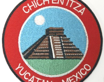 Chichen Itza Yucatan Mexico Patch Embroidered Iron or Sew on Badge Applique El Castillo Mayan Temple Souvenir Rare