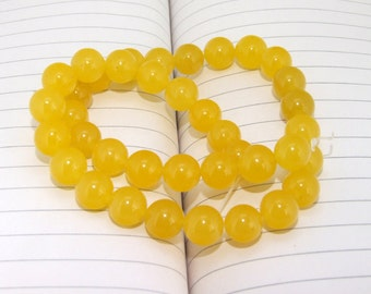 """strand Round Yellow Jade Beads ----- 10mm ----- about 38Pieces ----- gemstone beads--- 15"""" in length"""