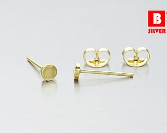925 Sterling Silver Earrings, Gold Plated Earrings, Round Earrings, Stud Earrings Size 3 mm (Code : GE04A)