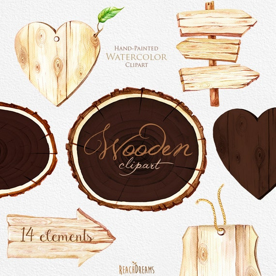 Wooden Slices Watercolor Clipart, Wood pointer, logs, board ...