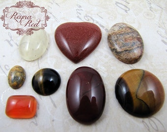 Shades of Autumn Mixed Cabochons, wire wrapping, orange red cabs, cabochons for setting, jewelry making, wire wrapping - reynaredsupplies