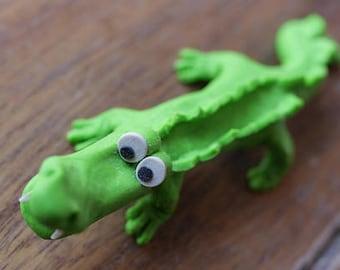 Yourik alligator, crocodile decoration in fimo
