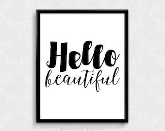 SALE -  Hello Beautiful, Handlettered Print, Handlettering Print, Calligraphy Print, Quote Art Print, Quote Print, Typography Print
