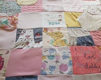 Baby memory blanket, keepsake, handmade from your favourite baby clothes that your little one has grown out of so you can keep them forever.