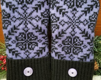 Warm Cozy 100% Wool Reclaimed Upcycled Sweater Mittens Fully Lined In Blizzard Fleece Purple Black Charcoal Grey Snowflake
