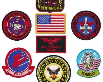 "Us navy top gun fighter 8pc embroidered patch set (tom ""iceman"" kazansky)"