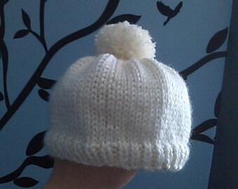 Hand-Knit White Baby Beanie with Pom-Pom