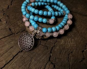 108 Mala Beads   Pink Rose Quartz & Turquoise Howlite Mala   Flower of Life Sacred Geometry Charm   Meditation Prayer Beads Yoga Mayan Rose