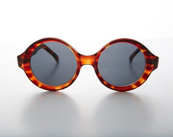 Big Round Mod Vintage Women's Sunglasses with Beveled Frame - Trudy 1