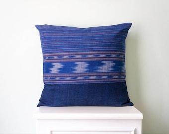 """Ikat Pillow Cover - Ikat Cushion - Decorative Pillow - Blue Ikat Pillow - Hand Woven - 17""""x 17"""" - Boho Pillow"""