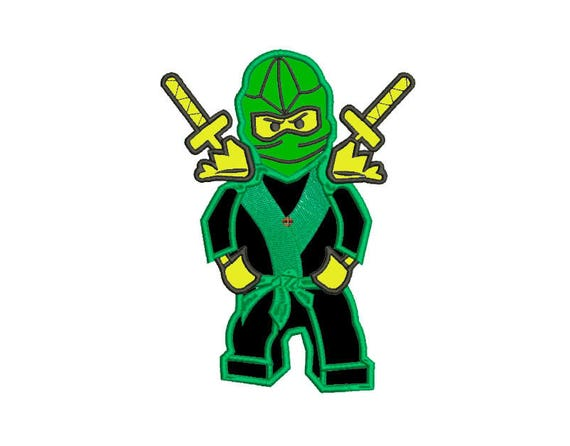 Embroidery design green Ninja Applique 3 sizes download