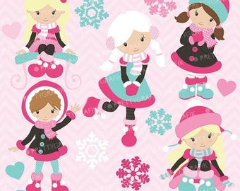 80% OFF SALE holiday snow girls clipart commercial use, vector graphics, digital clip art, digital images - CL621