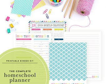The Complete 2018-2019 Homeschool Planning Kit - Includes lesson planner, calendars, meal planner, & weekly schedules!