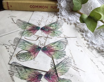 NEW Set of three small green and pink rainbow faerie wings