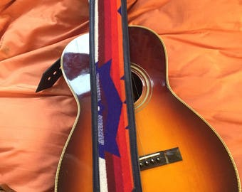 Leather and Pendleton wool guitar strap