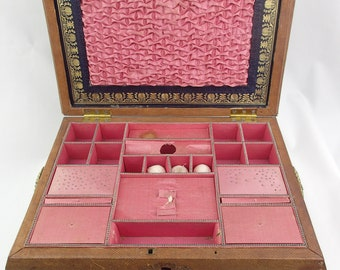 Early 19th Century Brown Leather Mounted Sewing Box Gilt Tooled Decoration Pink Silk Lined Gold Ornate Regency Sarcophagus