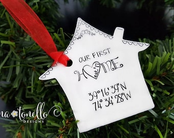 Our First Home Ornament,Personalized Ornament With Coordinates,First Home Gift,New Home Ornament,Personalized House Warming,Home Coordinates