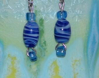 Dark blue swirly glass bead earrings