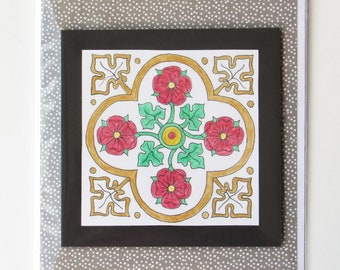 Tudor rose greeting card 'best wishes'.