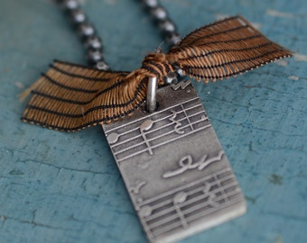 Music Pendant Necklace Sterling Silver Jewelry Fine Silver Music Charm Jewelry for Music Lovers