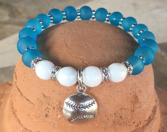 Yoga bracelet with white jade & dodger blue frosted beads and metal baseball charm