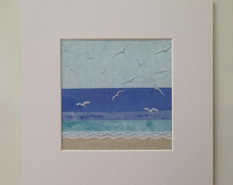 Textile Art, Fabric Art, Mixed Media. Coastal Scene, 'Gulls on the Wing'