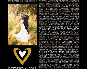 Custom Wedding Song Lyric Art with Photo 11 X 14