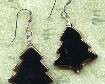 Christmas Trees Sterling Silver Earrings