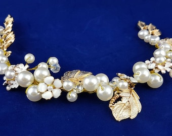 Gold leaf and white pearl wedding head accessories, wedding accessories, head accessories, wedding hair accessories,