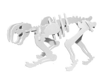 Dinosaur Puzzle, Dinosaur Toy, MINIATURE 3D Dinosaur Skeleton Puzzle, Recyclable PVC Smilodon, WHITE, Saber Tooth Tiger Toy