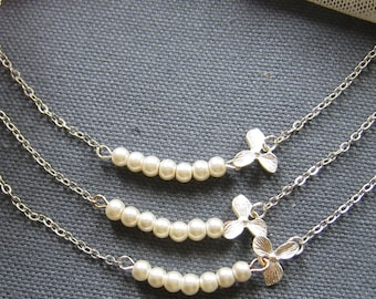 SET of 6 Orchid flower pearl necklace, bridesmaids necklace, wedding jewelry - W049 (Choose your pearl colour)