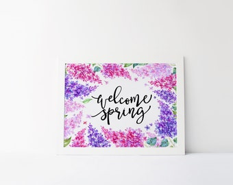 welcome sprint printable · lilac wreath · spring wall art · lilac quote print · welcome wall art · holiday decor · floral easter printable