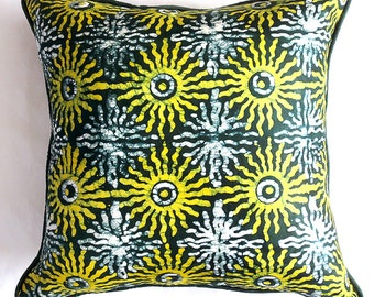 Green Sunburst Adire Pillow