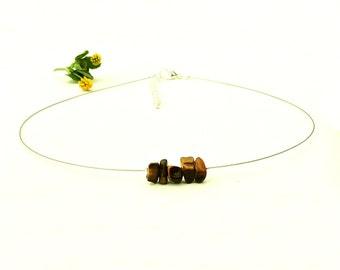 Handmade choker necklace, stone jewelry, tiger eye necklace, silver choker, handmade jewelry, natural stone necklace, silver necklace shikky