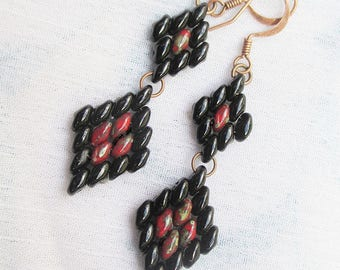 Black and red picasso diamond earrings