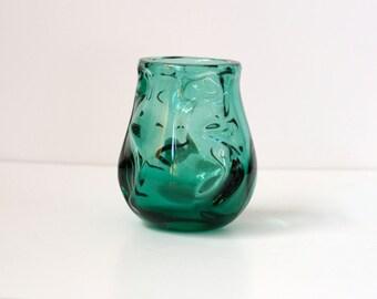 Reduced Price - Emerald Green Art Glass Vase