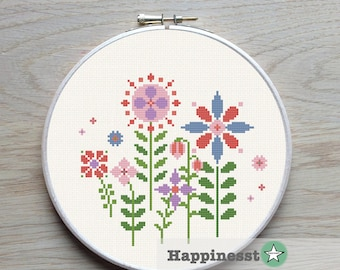 cross stitch pattern flowers, modern flowers, spring, nature, PDF pattern ** instant download**