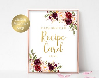 Please Drop Your Recipe Card Here Sign Recipe Card Drop Decor Bridal Shower Recipe Card Sign Recipe Box Sign Recipe Cards Printable Marsala
