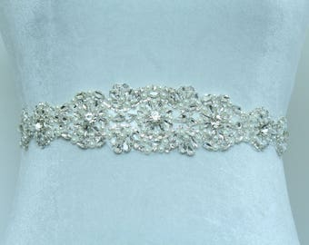 13 inch Long Rhinestone  / Rhinestone Bridal Belt / Bridal Sash / Crystal Belt  / Rhinestone Sash / Wedding Belt / (SQA-17)
