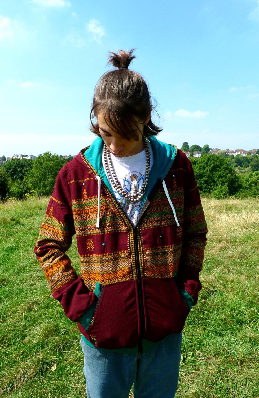 JACKFRUIT Hula Hoodie - Blanket Maroon - Crazy Pattern Aztec Warm Tribal Hippy Boho Festival Fresh Prince Retro Psy Zip Pocket Hoody Jacket 09dmyX7