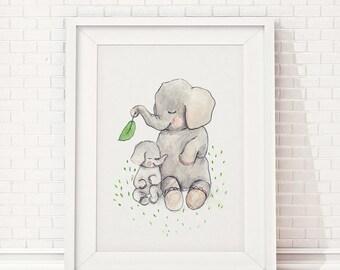 Mothers love, elephant nursery decor, baby elephant baby shower, elephant nursery wall art, baby shower decorations, elephant nursery print
