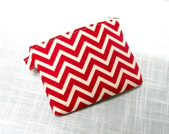 Coin Bag Chevron Berry Change Purse, Small Cosmetic Bag, Purse Accessorie Ear Bud Bag Gift Card Bag
