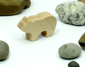Toy Polar Bear Cub, Natural Wood Bear Toy, Woodland Animal, Forest Animal, Kids Toy. Wooden Toy, Bear Figure, Bear Toy Figurine