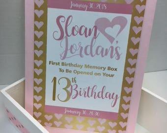 1st Birthday Time Capusule Keepsake box - CUSTOM Designed for Girls