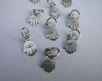 Sterling Silver Tiny Little Hamsa Hand Charm Pendant